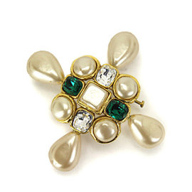 Chanel Gold Tone Metal Pearl Stone Brooch