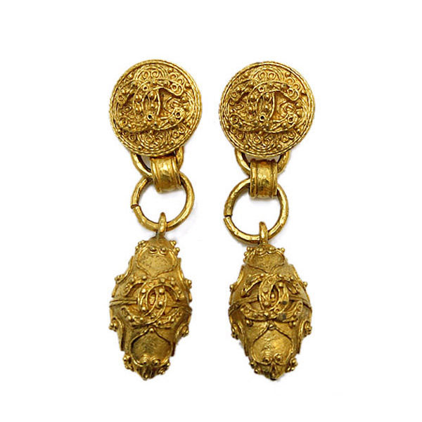"""Image of """"Chanel Gold Tone Metal Coco-Mark Earrings"""""""