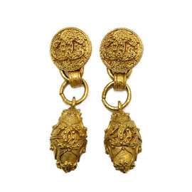 Chanel Gold Tone Metal Coco-Mark Earrings