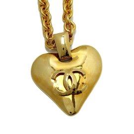 Chanel Gold Tone Heart CC Mark Logo Necklace