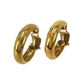 Chanel Gold Tone Metal Coco Logo Vintage Earrings