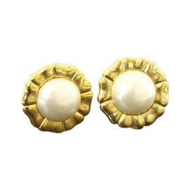 Chanel Gold Tone Metal Faux Pearl Earrings