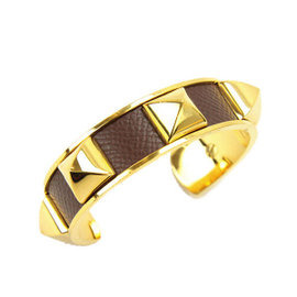 Hermes Gold Tone Metal Medor Courchevel Leather Bangle Bracelet