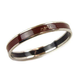 Hermes Silver Tone Metal Cloisonne Brown Bangle