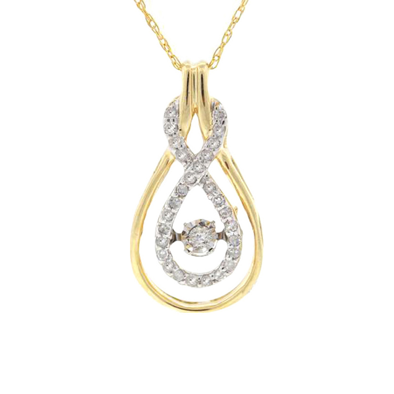 "Image of ""14k Yellow Gold Round 0.18Ct Diamond Pendant Necklace"""