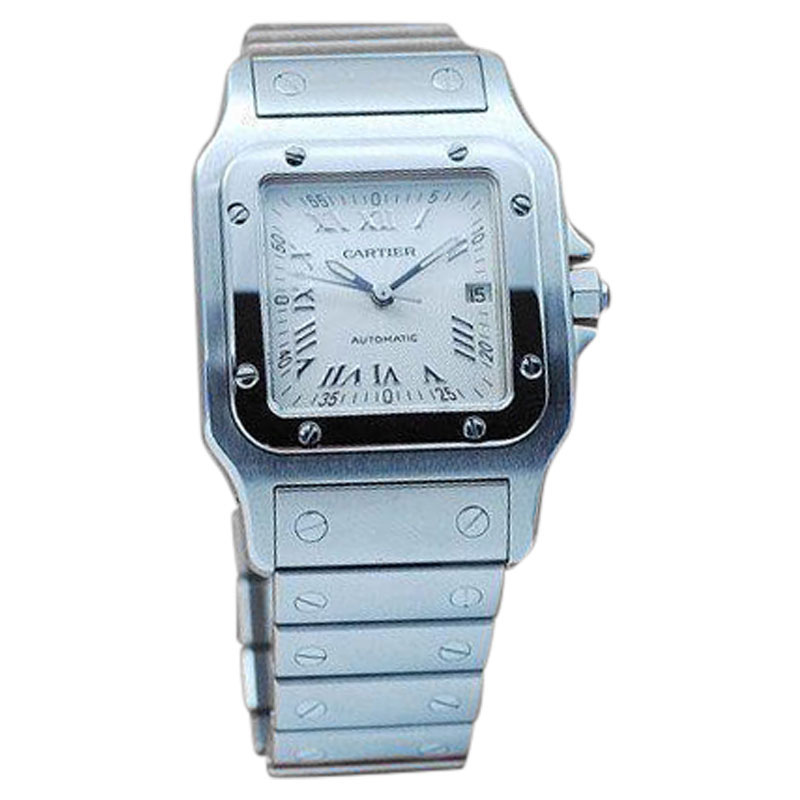 """Image of """"Cartier Santos Automatic Stainless Steel Square Watch"""""""
