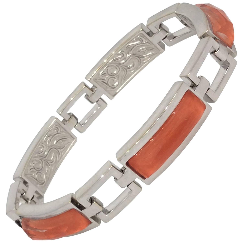"""Image of """"Stephen Webster 18K White Gold Quartz and Coral Link Bracelet"""""""