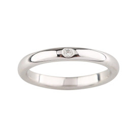 Tiffany & Co. Elsa Peretti Platinum Stacking Band Diamond Ring Size 6