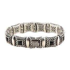 Scott Kay 925 Silver Onyx & Diamond Equestrian Bracelet