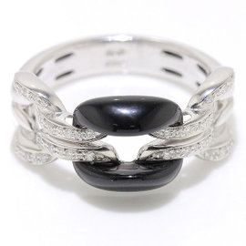 Damiani 18K White Gold with Onyx & Diamond D.Lace Ring