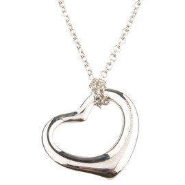 Tiffany & Co. 925 Sterling Silver Elsa Peretti Medium Open Heart Pendant Necklace