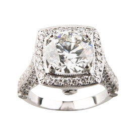 14K White Gold 3.05ct Diamond Halo Setting Engagement Ring Size 5
