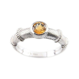 Judith Ripka Sterling Silver Citrine Cable Stacking Ring Size 10