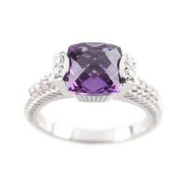 Judith Ripka Sterling Silver Cushion Cut Amethyst & CZ Solitaire Ring Size 10