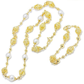 Mikimoto 18K Yellow Gold Akoya Pearl Necklace Bracelet