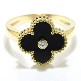 Van Cleef & Arpels 750 Yellow Gold Diamond and Onyx Ring Size 8.25