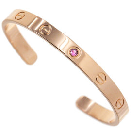 Cartier Love 18K Rose Gold Pink Sapphire Half Bracelet Size 17