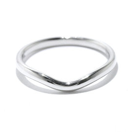 Tiffany & Co. Platinum Curved Band Ring Size 7.0