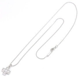 Bulgari 750 18K White Gold Cross Diamond Necklace