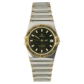 Omega Constellation Two-Tone Stainless Steel & 18K Yellow Gold Diamond Dial Quartz Mens Watch