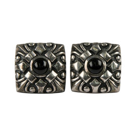 Scot Kay 925 Sterling Silver Onyx Square Ornate Cufflinks