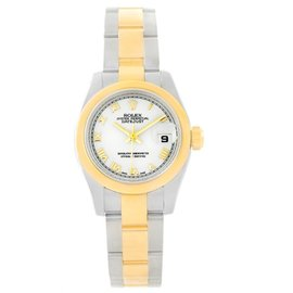 Rolex Datejust 179163 Stainless Steel & 18K Yellow Gold White Roman Dial Womens Watch