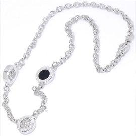 Bulgari 750 18K White Gold Onyx Diamond Necklace