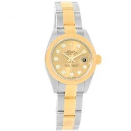 Rolex Datejust 179163 Steel 18K Yellow Gold Diamond Womens Watch