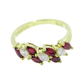 Tiffany & Co. 18K Yellow Gold Ruby Diamond Ring Size 5.75