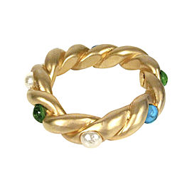 Chanel Gold Tone Pearl Glass Gripoix Green and Blue CC Stone Vintage Bracelet