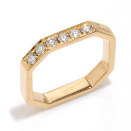 Gucci 18K Pink Gold and Diamond Ring Size 4~4.25