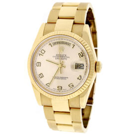 Rolex President Day-Date 118238 Oyster Gold Champagne Arabic 36mm Watch