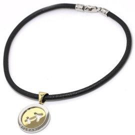 Bulgari 750 18K Yellow Gold & Stainless Steel Tondo Sagittarius Choker Necklace