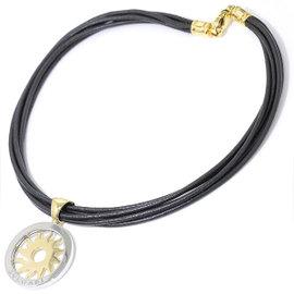 Bulgari 750 18K Yellow Gold & Stainless Steel Tondo Sun Leather Choker Necklace