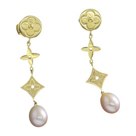 Louis Vuitton 18K Yellow Gold & Pearl Earrings
