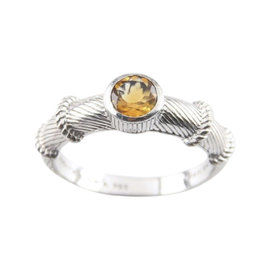 Judith Ripka Sterling Silver Yellow Citrine Cable Stacking Ring 10