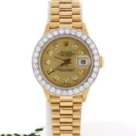 Rolex President Datejust Yellow Gold Diamond Bezel & Dial Womens 26mm Watch