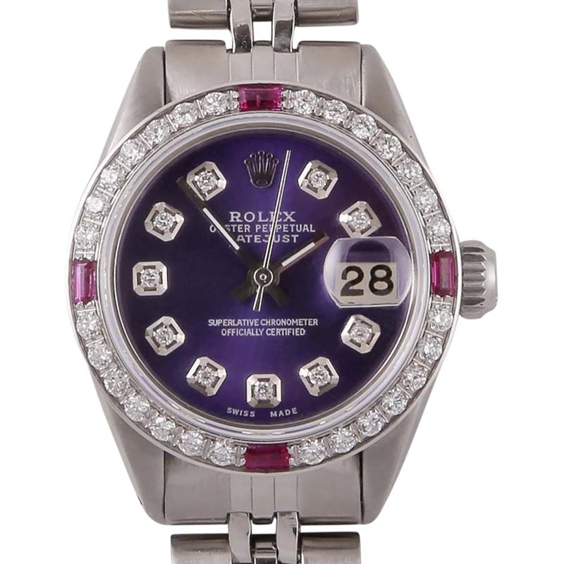 """Image of """"Rolex Datejust Stainless Steel Purple Dial wDiamond & Sapphire"""""""