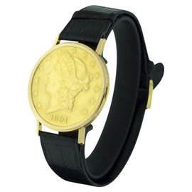 Audemars Piguet Hidden $20 Coin 18K Yellow Gold & Leather 35mm Men's Watch
