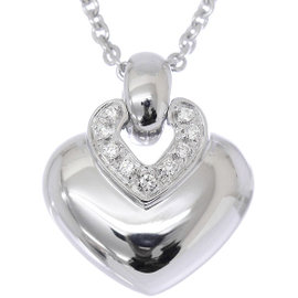 Bulgari 750 18K White Gold Doppio Cuore Heart Diamond Necklace