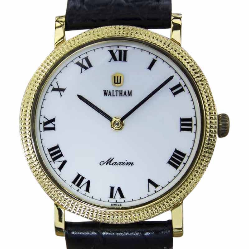 "Image of ""Waltham Maxim Gold Plated Stainless Steel & Leather Manual Vintage"""