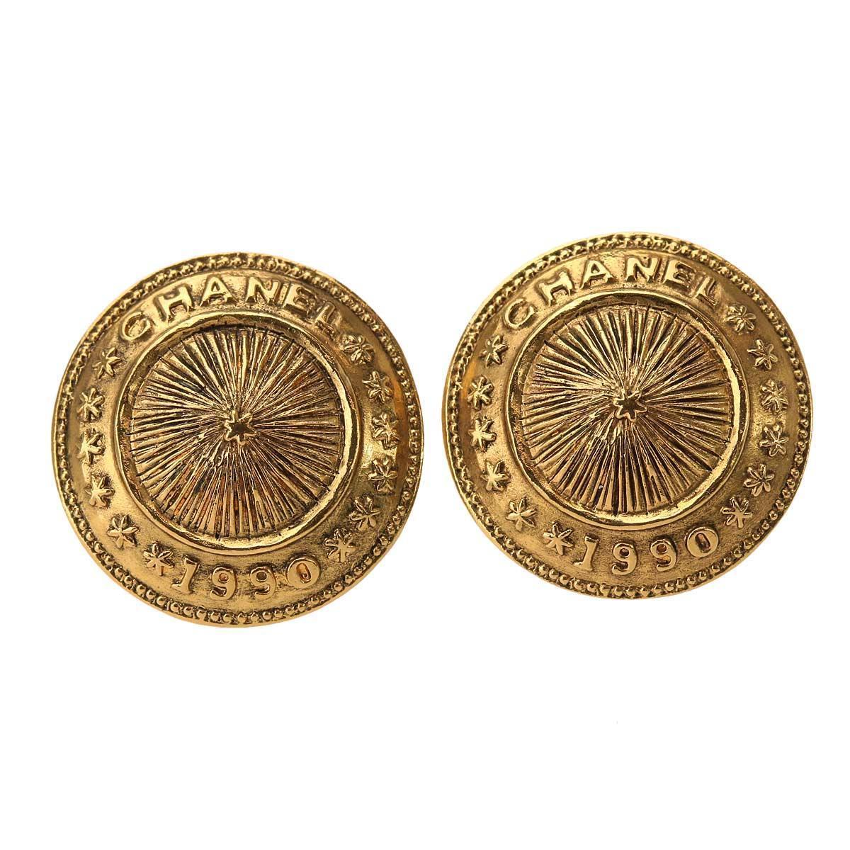 "Image of ""Chanel CC Gold Tone Metal Round Earrings"""