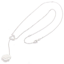 Chanel 18K White Gold 750 Diamond White Agate Necklace