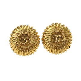 Chanel Gold Tone Metal Round Coco Logo Earrings