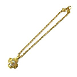 Chanel Gold Tone Metal Fake Pearl Clover CC Necklace