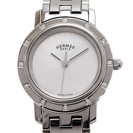 Hermes Clipper Nacre CL4 230 Stainless Steel wDiamonds Quartz Womens Watch