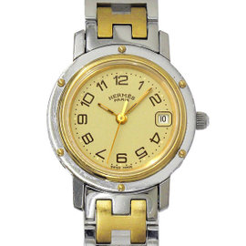 Hermes Clipper CL4 220 Stainless Steel/Gold Plated Ivoly Dial Quartz Womens Watch