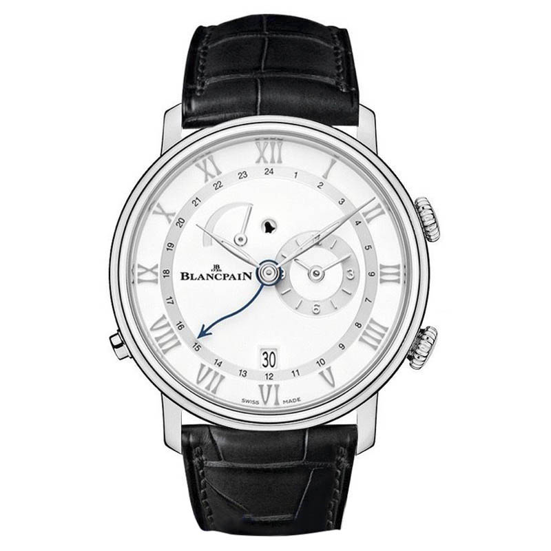 "Image of ""Blancpain Villeret Reveil GMT Alarm Date Stainless Steel & Leather"""