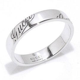 Gucci Icon Print 18K White Gold Ring Size 7.75~8