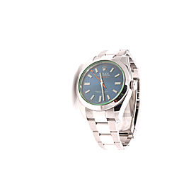 Rolex Milgauss 116400GV Stainless Steel Blue Dial Green Crystal 40mm Mens Watch